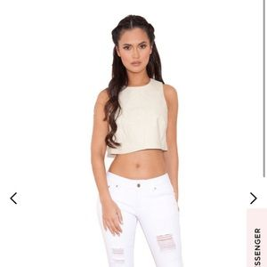 House of CB cropped leatherette top